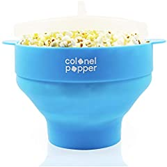 GERMAN LFGB CERTIFIED BPA FREE SILICONE - Our Colonel Popper Silicone Popcorn Maker is certified for LFGB Food Contact Grade Compliance. It is reusable, durable, and eco-friendly. You can eat fresh microwave popcorn right out of the colorful popcorn ...