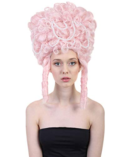 HalloweenPartyOnline Baroque Marie Antoinette Wig   Multiple Colour Options (Pink)