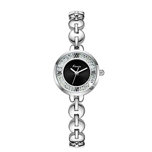 Uhr Damen Diamond Pearl–Armband in Stahl verstellbar bis 20cm, Zifferblatt Perlmutt Farbe schwarz–Masche abnehmbar–wasserdicht–Hohe Qualität, Idee Geschenk, Geburtstag, Jahrestag