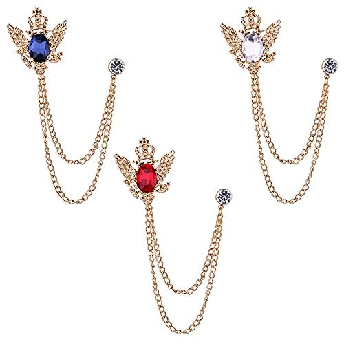 Xihuimay 3 broches para hombre broche cristal para novio o abrigo pin seguridad para bodas banquetes ramo para decorar ropa bufandas sombreros y ramillete de joyería accesorio blanco, azul y rojo