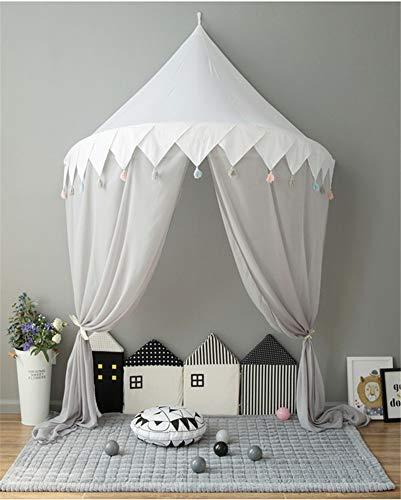 Hayisugal Betthimmel für Kinder Babys Bett Kuppel Hängende Moskiton für Schlafzimmer Kinderzimmer Spielzelte Deko…, Weiß+Quaste+Chiffon, L/145 * 70cm