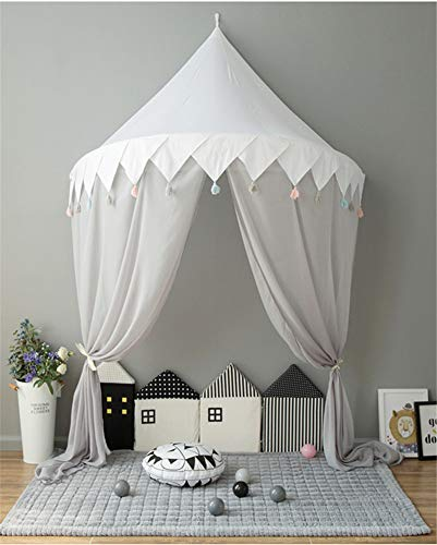 Hayisugal Betthimmel für Kinder Babys Bett Kuppel Hängende Moskiton für Schlafzimmer Kinderzimmer Spielzelte Deko, Weiß+Quaste+Chiffon, S/110 * 50cm