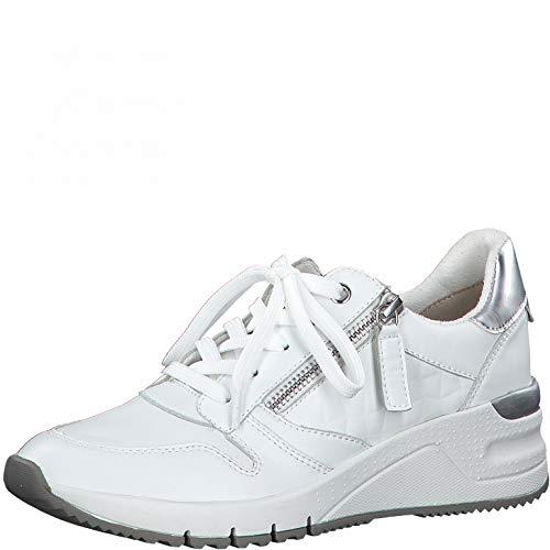Tamaris Damen Low-Top Sneaker, Frauen Halbschuhe,lose Einlage,Woman,schnürschuhe,schnürer,Halbschuhe,straßenschuhe,keil,White Uni,40 EU / 6.5 UK
