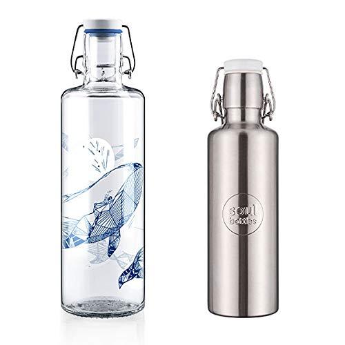 soulbottles Trinkflaschen Set Glas und Edelstahl: Steel weiß 0,6l + souldiver 1,0l