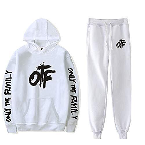 WAWNI King Von OTF Hip Hop Hooded Sweatshirt Unisex Two-Piece Hoodie Sweatshirt (White,L,)