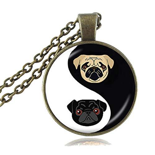 TUDUDU Collar Yin Yang Pug, Colgante De Bulldog Negro Y Tostado, Joyería De Perro, Regalos para...