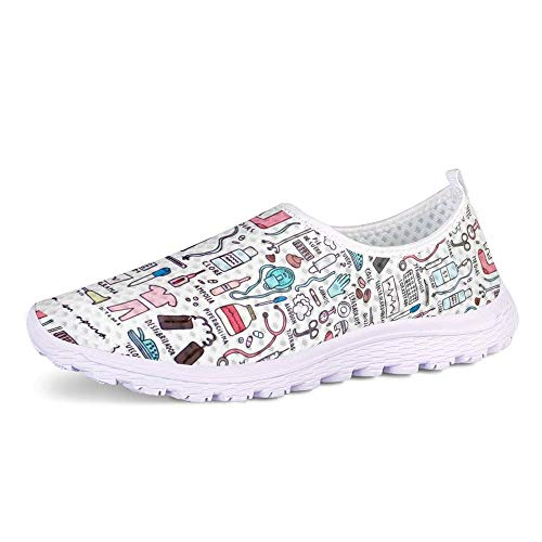 POLERO Zapatillas sin Cordones con Estampado de Enfermera para Mujer Zapatillas de Caminar Planas de Malla Transpirable Casual Zapatos de Trabajo livianos Senderismo Trotar Verano, Talla 39