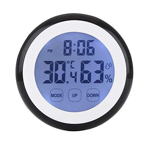 Lecimo Digital Thermometer Hygrometer Uhr, Innentemperatur Luftfeuchtigkeit Monitor Wecker Touchscreen Mit Hintergrundbeleuchtung Magnetische Zurück Für Home Office, 1#