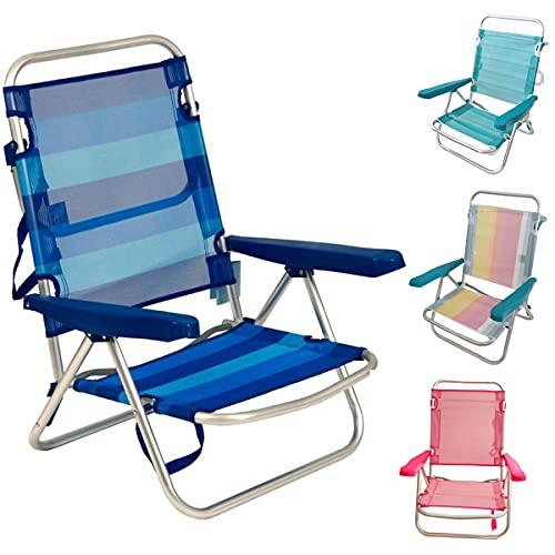 Silla Baja Plegable Evy Aluminio 80x62x50 cm. 4 Posiciones y 4 Colores (Azul Rayas)