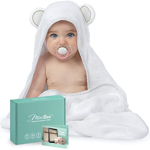 Miniboo Organic Bamboo Hooded Baby Towel - Ultra Soft and Super Absorbent Baby Bath Towels for Newborns, Infants and Toddlers - Suitable as Baby Gifts
