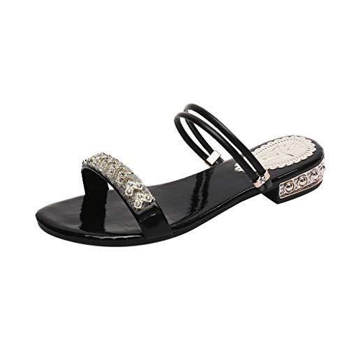 MOTOCO Frauen Damen Sandalen Folien Sommer Flache Strass Kristall Mode Strand Sandalen Römische Schuhe Hausschuhe Übergröße Plus Size zu tragen(41,Schwarz)