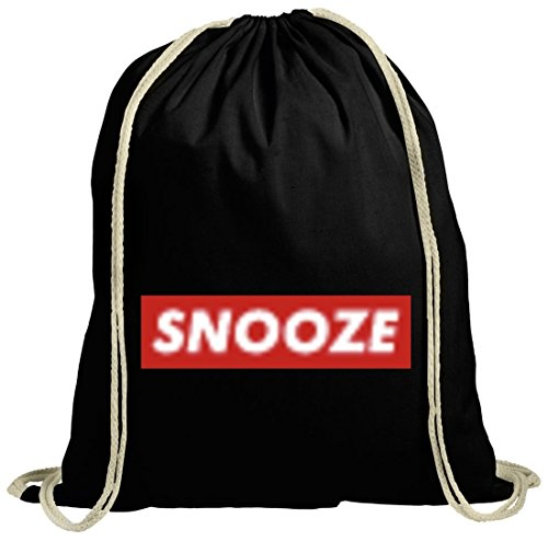 Turnbeutel Gymsac Snooze für Langschläfer Morgenmuffel Bett Chiller im Graffiti Streetart Style, Größe: onesize,schwarz natur
