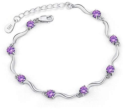 Pulsera Pulseras Y Brazaletes De Circonita De Cristal De Ocho Cuatro Garras De Plata De Ley 925 para Mujer, Regalo De San Valentín, Púrpura
