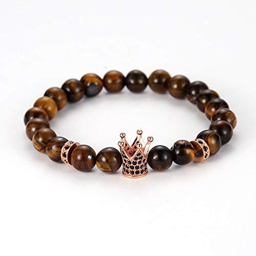 Wuligeya 8mm tijger oog steen micro-set kroon mannen en vrouwen single-ring elastische armband