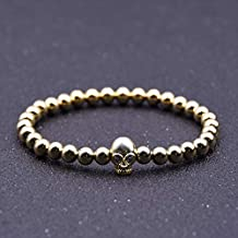 FOKLC Bracelet Skull Brass Metal 6MM Beads Men Stretch Bracelet