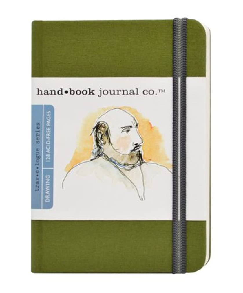 Travelogue Drawing Book, Pocket Portrait 5-1/2 x 3-1/2, Cadmium Green Artist Journal