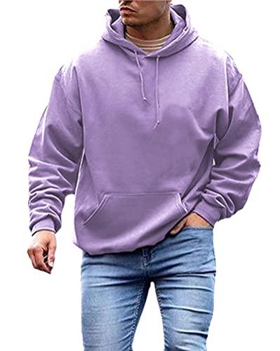 cappotto uomo fashion Onsoyours Felpa Uomo Felpe con Cappuccio Manica Lunga Semplice Pullover Hoodie Cappotto Uomo Oversize Hoodie con Tasche Fashion Streetwear Viola XL