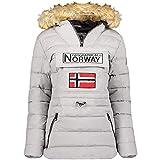 Geographical Norway Belinda Lady – Parka cálida para mujer – Abrigo impermeable con capucha de piel – Abrigo cortavientos – Chaqueta de forro cálido para mujer (Gris, S)