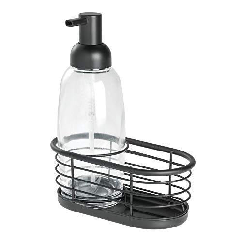Price comparison product image iDesign Bathroom Accessories Set,  Small Basket with Glass and Metal Dispenser,  Sink Tidy for Liquid Soap,  Clear / Matte Black,  16.5 cm x 9.1 cm x 21 cm