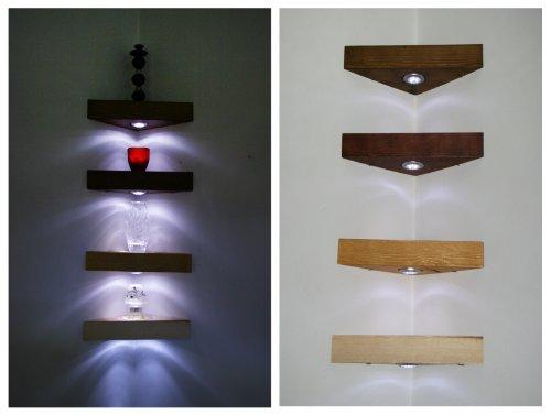 Eck Hängeregal Kiefer massiv Handarbeit Einlegeböden aus Holz Kiefer antik Farbe mit weißen LED-Lichtern