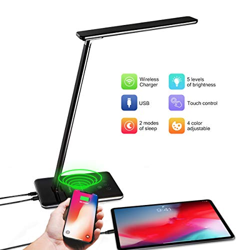 Sunnychic LED Desk Lamp with Wireless Charger, Dimmable Table Night Light, Eye Caring Office Lamp,...