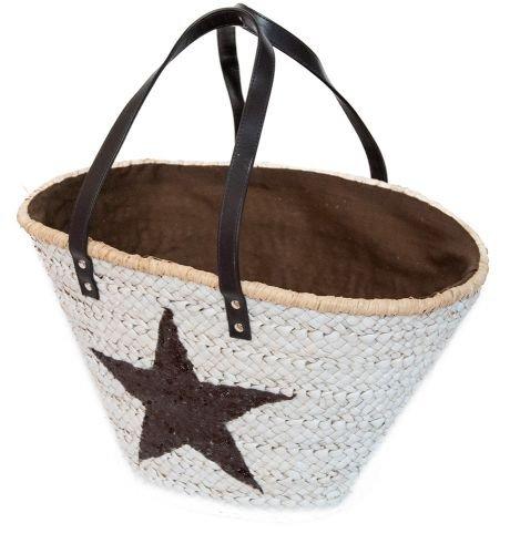 best ambiente Korbtasche Weiß mit Braunem Stern Strandtasche Strohtasche Korb Korbtasche Schwimmtasche Einkaufstasche Bag Shopper Innenfutter