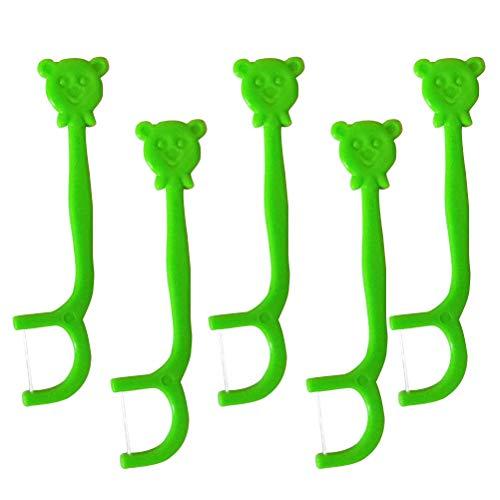 SUPVOX Zahnseide Stick Bär Design Einweg Zahnstocher Zahnpflegesets für Kinder 100 Stück (Grün)
