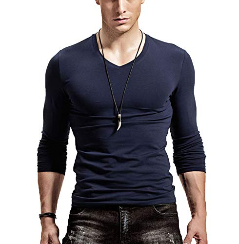 JX-PEP Hombre en V Cuello de Manga Larga Color sólido Camiseta Slim-Fit Deportes Tops básicos T-Shirt Superfing Camisa Pullover,Azul,3XL