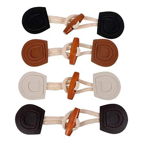 Materiales de Costura 4 Pares PU Cuero Cuerpo Cuerno Toggle Botón Abrigos Chaquetas Jueces Suéteres Botones Accesorios de Costura Durable