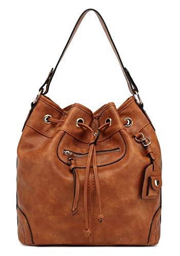 Scarleton Large Bucket Bag for Women, Faux Leather Hobo Bag, Shoulder Bag, Crossbody Bag H107804 - Brown
