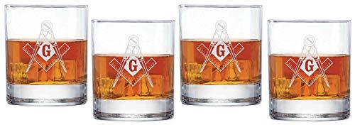 Personalized Freemason Masonic Set of 4 Double 11oz Old Fashioned Glasses Laser Engraved (4)