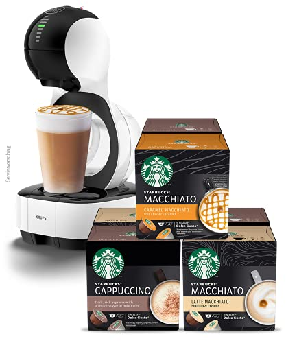 Krups KP1301 Nescafé Dolce Gusto Lumio Kapsel Kaffeemaschine, weiß, 1,0 l + Nescafe Dolce Gusto Variety Pack White Cup Coffee Pods, 6er Pack (6 x 12 capsules) (36 Servings)