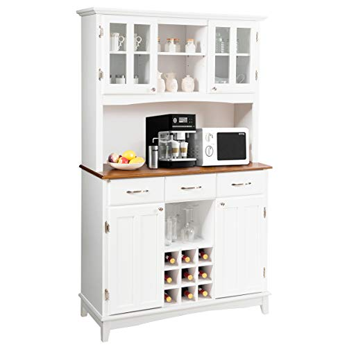 Giantex Buffet Hutch Cabinet, Kitchen Hutch Sideboard, Buffet Cabinet on Storage Island, Wood Kitchenware Server with 3 Large Drawers and 9 Wine Bottle Modulars (White)