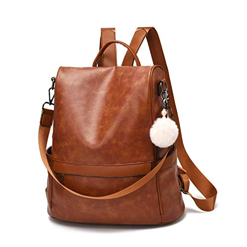 Women Backpack Purse PU Leather Anti-theft Casual Shoulder Bag Fashion Ladies Satchel Bags(Tan-Large)
