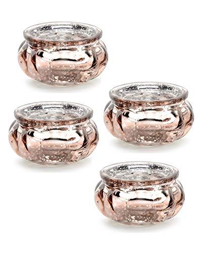Feste Feiern Teelichthalter Rosso 4er Set Glas Altrosa Rose´ Kerzenhalter Deko Windlicht farblich changierend Tischdeko Tafel