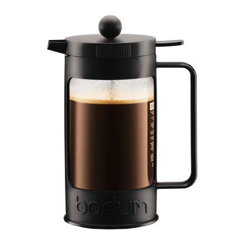 Bodum Bean Cafetera émbolo, 1 Liter, Vidrio, Negro