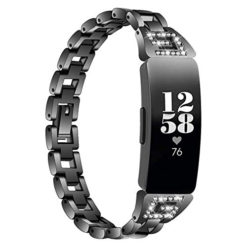 Miya System Ltd Cinturino per Inspire, Cinturini per Orologi con Strass Gioielli Bling Cinturino Compatibile per Orologio Intelligente Inspire/Inspire HR/Ace 2 (Nero)
