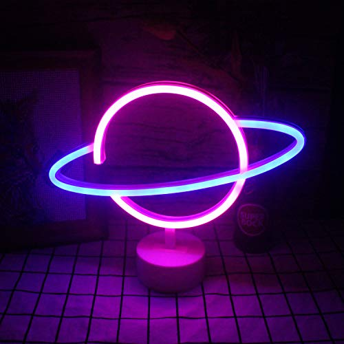 """Planet Neon Signs with Base Led Neon Sign Lights Table Lamp Light Blue Pink Planet Night Light Decorative Sign for Besides Table Kids Room Decoration Birthday Party Wedding Day Supply(9.4""""×11.8"""