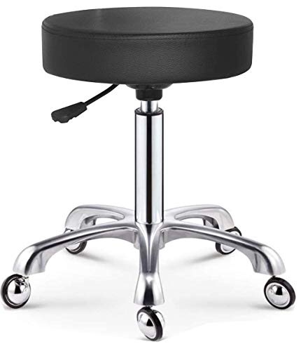 Cris nails - taburete giratorio con ruedas esféricas, taburete rodante regulable para trabajo, estudio, oficina, clínica (Negro)