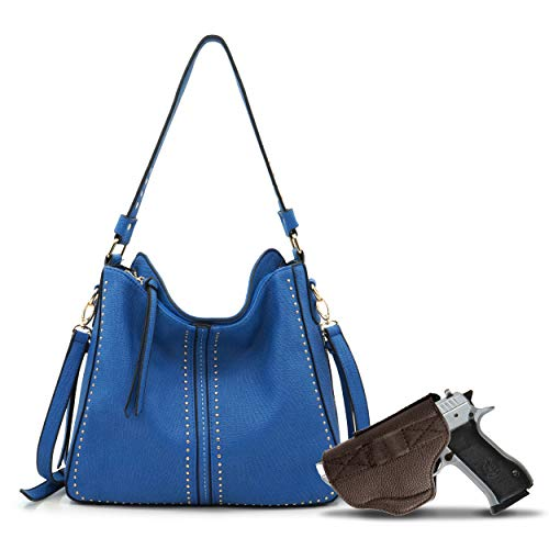 Large Concealed Carry Handbag and Purse For Women Designer Ladies Hobo Bag Faux Leather With Crossbody Strap and Gun Holster B2B-MWC-G1001 BLUE