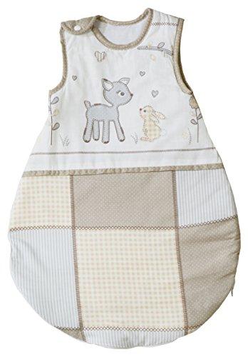 roba Schlafsack, 70cm, Babyschlafsack ganzjahres/ganzjährig, aus atmungsaktiver Baumwolle, Schlummersack unisex, Kollektion 'Tierfreunde'