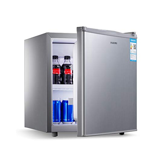 Mini-nevera Lxn Refrigerador Compacto de Plata de una Sola Puerta, refrigerador bajo mostrador con Compartimiento para Enfriador Cubierto - con estantes extraíbles Ajustables - Capacidad de 50 litros