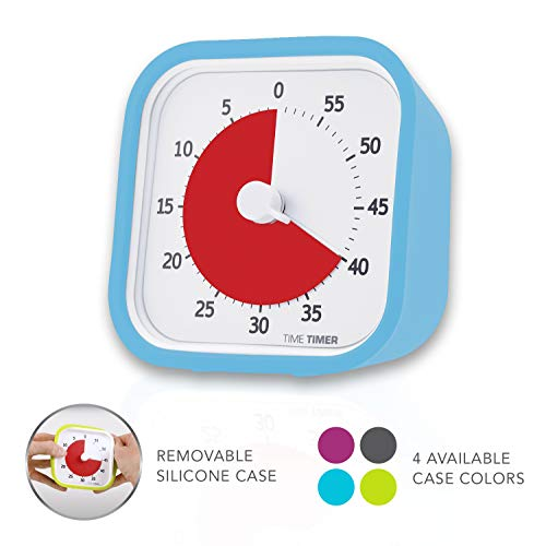 Time Timer MOD (Sky Blue), A Visual Countdown 60 Minute Timer for Classrooms, Meetings, Kids and Adults Office and Homeschooling Tool with Silent Operation and Interchangeable Silicone Cover