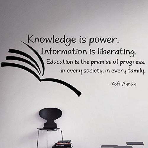 El conocimiento es poder. Vinilos decorativos. Citas inspiradoras. Vinilos decorativos en el libro. Decoración interior de la sala de lectura de la escuela.