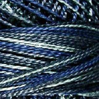 Valdani Perle Cotton Size 8 Embroidery Thread, 72 Yard Ball - p07 ''Withered Blue'' (variegate)