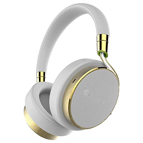 Elesound NC100 Wired Active Noise Cancelling Headphones,Hi-Fi Deep Bass Over Ear Headphones with Microphone,Comfortable Protein Earpads,20H Playtime for Adults Airplane iPhone Android Travel (White)