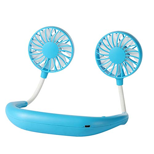 QY-Youth Mini USB Portable Fan Hands-free Neck Fan Rechargeable Battery Small Portable Sports Fan 2000mA Desk Hand Air Conditioner cooler,Blue