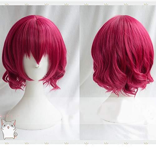 Anime Akatsuki No Yona Yona Juego de roles Pelucas Cortas Rosa Roja Rizada Resistente al calor Cabello Cosplay Disfraz PelucaAZ-994