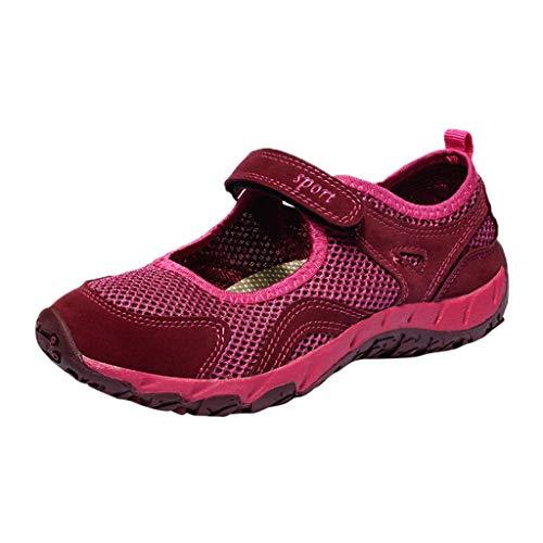 Zapatillas para Mujer Deportivo Verano Plataforma Cuña Merceditas 2018 Moda PAOLIAN Zapatos Casual Talla Grande Señora Calzado Trabajo Dama con Atado al Tobillo Tela Cómodos (39 EU, Fucsia-1)