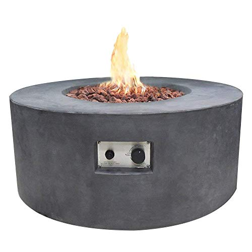 Modeno 34.3' Propane Fire Pit Table Outdoor Patio Furniture Fire Table, Concrete with Stainless...